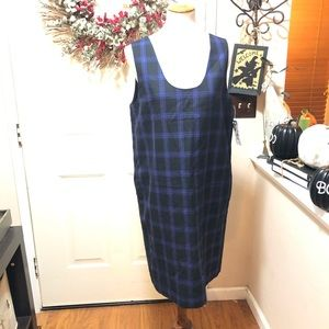 NWT Harvé Bernard Blue & Black Sleeveless Dress
